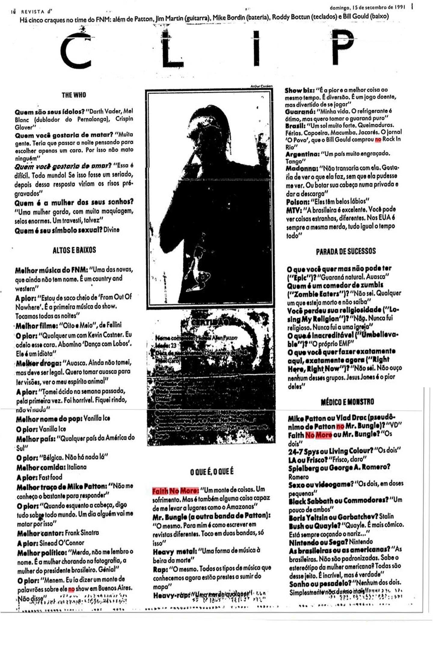 Jornal Folha edição 1991